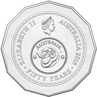 Celebrating 50 years of decimal currency 50c obverse circ