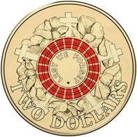 2015 Lest We Forget Coloured Circ Coin