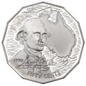 Australian Fifty Cent - Bicentenary of James Cook's 1770 Voyage