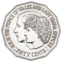 Australian Fifty Cent - Charles and Diana Reverse