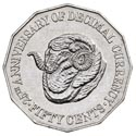 Australian Fifty Cent - 25th Anniversay of Decimal Currency Reverse