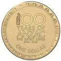 Australian One Dollar - Centenary of Anzac 2014