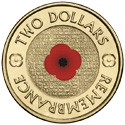 Australian Two Dollar - Remembrance Day Red Poppy