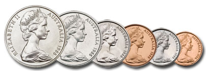 Machin's  obverse design on coins of different denominations