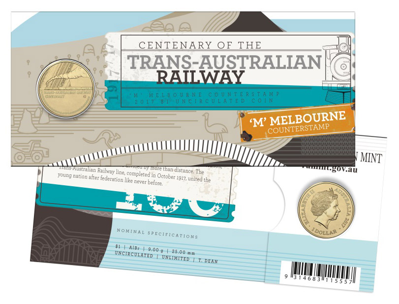 Image of the 2017 $1 Uncirculated Coin commemorating the centenary of the Trans-Australian Railway.