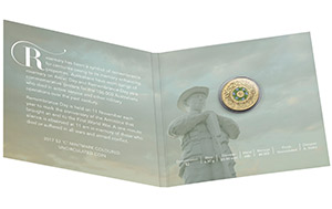2017 $2 'C' Mintmark Coloured Uncirculated Remembrance Day Coin_Packaging Open