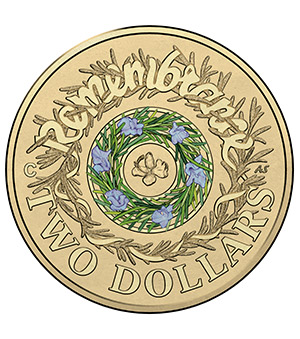 2017 $2 'C' Mintmark Coloured Uncirculated Remembrance Day Coin