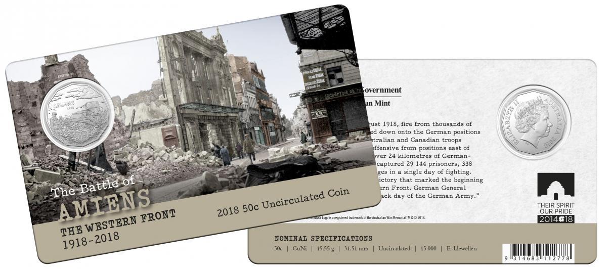 PNC Australia 2018 Battle of Villers-Bretonneux 1918 RAM 50c Coin L//E 1000