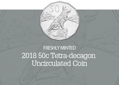 Image of the 2018 Tetra-decagon Lunar Year of the Dog Coin