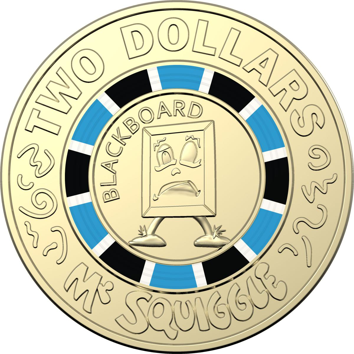 Mr Squiggle and Friends $2 Dollar Coloured Coin Week 3 Gus the Snail Pink UNC