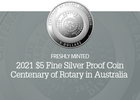 2021 $5 Silver Proof Centenary of Rotary Coin