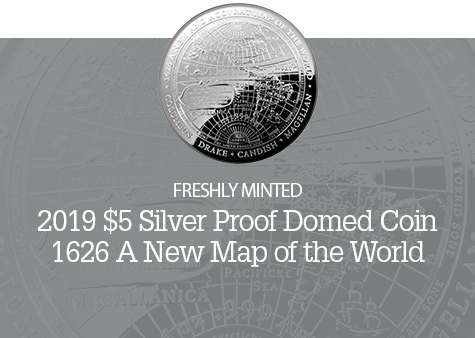 2019 $5 Silver Proof Domed Coin - 1626 A New Map of the World- Western Hemishere