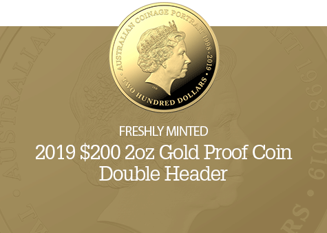 2019 $200 2oz Gold Proof Coin - Double Header