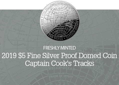 019 1812 A New Map of the World $5 Fine Silver Proof Domed Coin