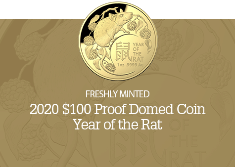 2020 $100 Gold Domed Proof Coin - Year of the Rat