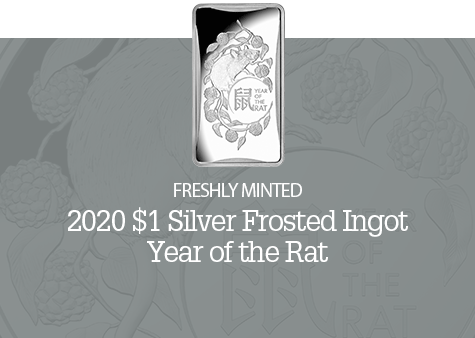 2020 $1 1/2oz Silver Frosted Ingot - Year of the Rat