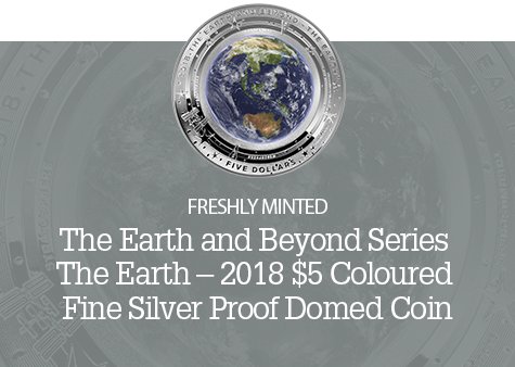 2018 $5 1oz Silver Coloured Proof Coin - The Earth and Beyond Series - Earth