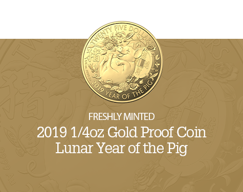 2019 1/4oz Year of the Pig Gold Proof Coin