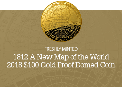 2018 $100 Gold Proof Domed Coin New Map of the World