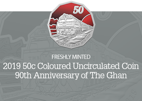 2019 50c Coloured Uncirculated Coin-The Ghan - 90th Anniversary