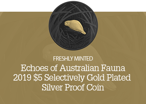 2019 $5 1oz Selectively Gold Plated Fine Silver Proof - Night Parrot