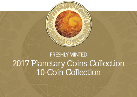 a coin collection consisting of all ten planets in different colours and denominations that come in a foldout booklet.