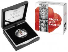 Image of the 2017 Frontline Angels Triangular Coin in packaging