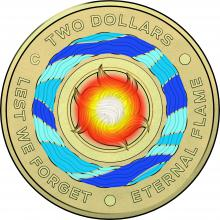 2018 Lest We Forget 'C' Mintmark Couloured Coin