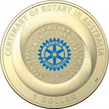 2021 $1 Coloured Uncirculated Centenary of Rotary in Australia