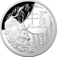 2021 $5 Silver Domed Proof Coin - Year of the Ox