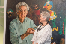 Painting of Mr Squiggle creator Norman Hetherington and his daughter Rebecca Hetherington